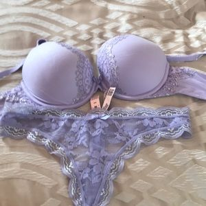 Victoria's Secret lavender bra and thong set